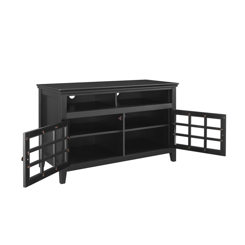 Linon Largo 2-Door Wood Media Center in Black