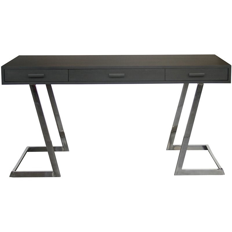 Armen Living Juniper Polished Stainless Steel Writing Desk in Gray and Silver