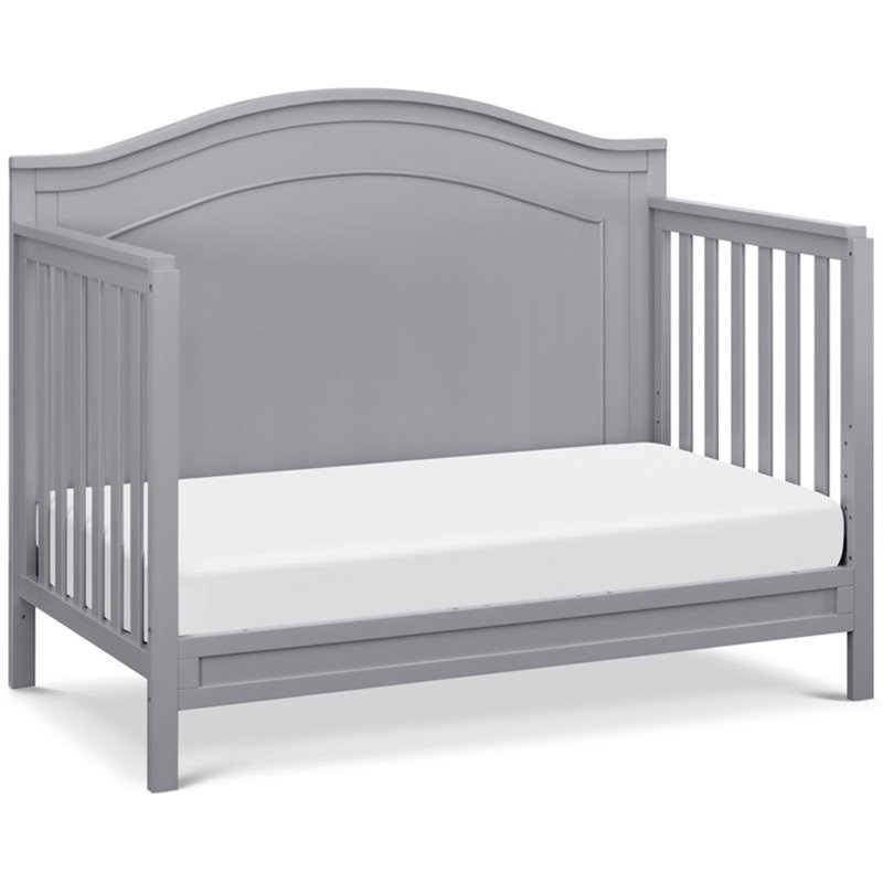 4-in-1 Convertible Crib and Dresser Changing Table Set with Mattress in Gray