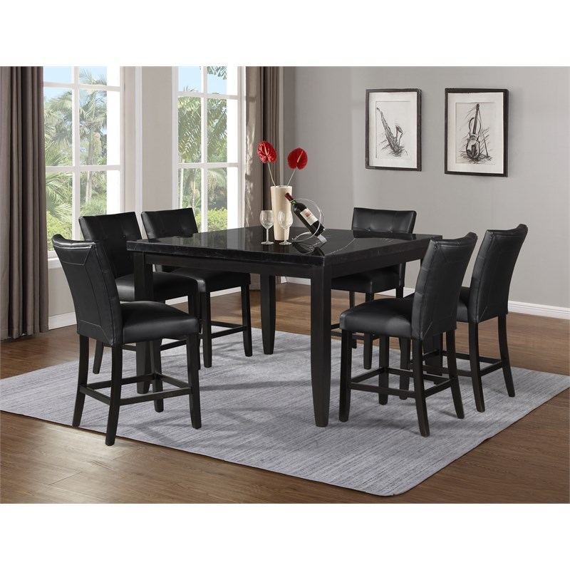 Markina 7 Piece Square Marble Counter Height Set With Counter Chairs In Black Mk5454mt600tlcb7pc