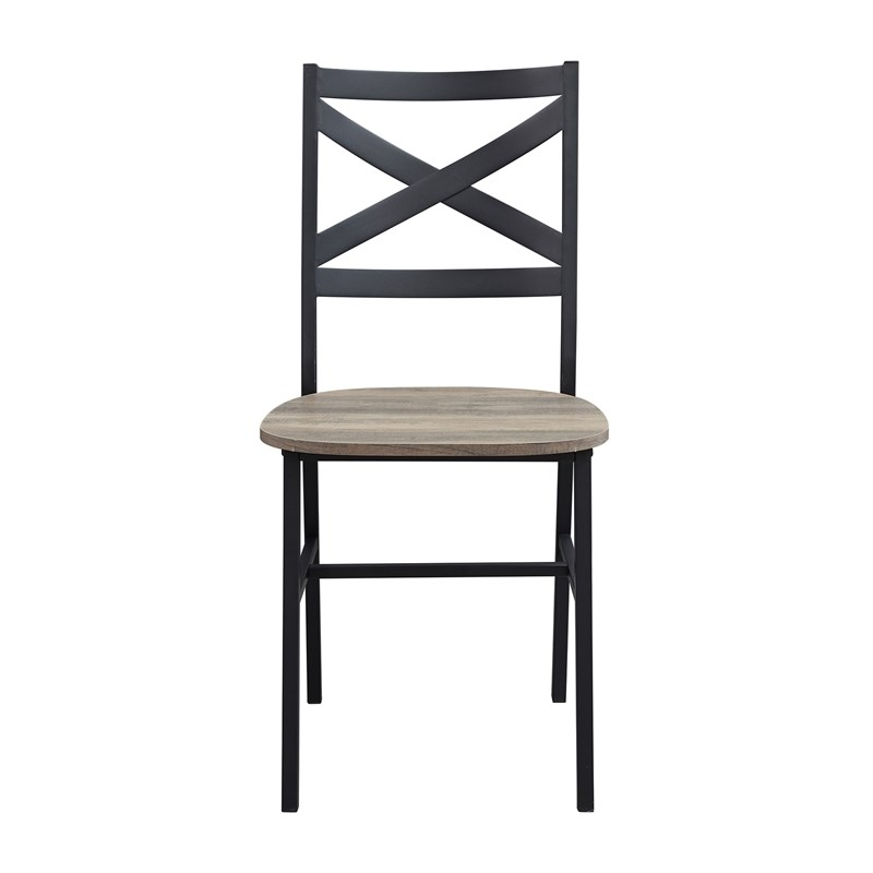 Industrial Wood Dining Side Chairs (Set of 2) - Gray Wash