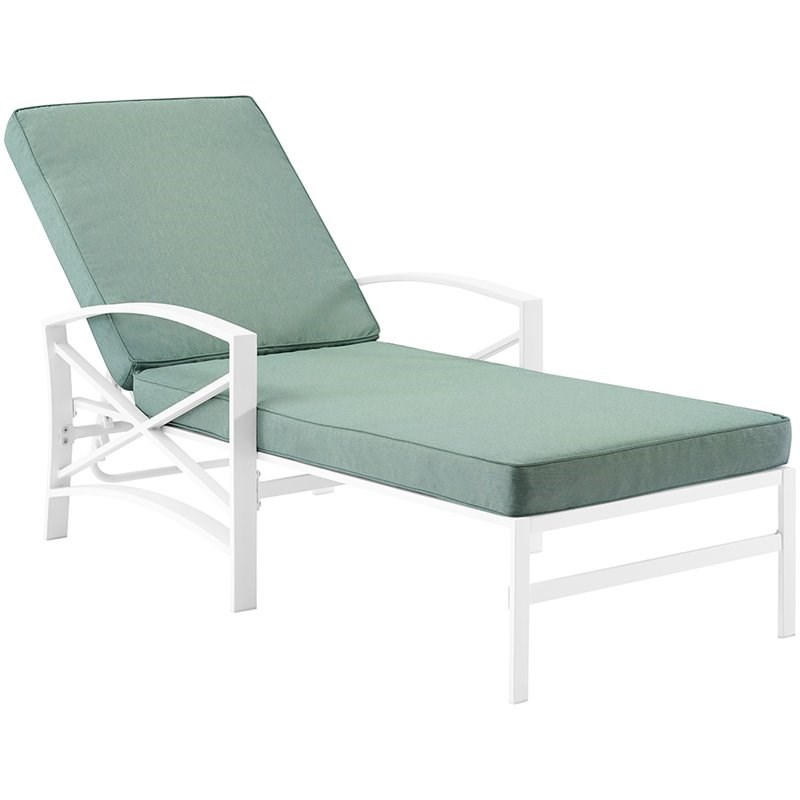 Crosley Kaplan Metal Patio Chaise Lounge in Mist and White