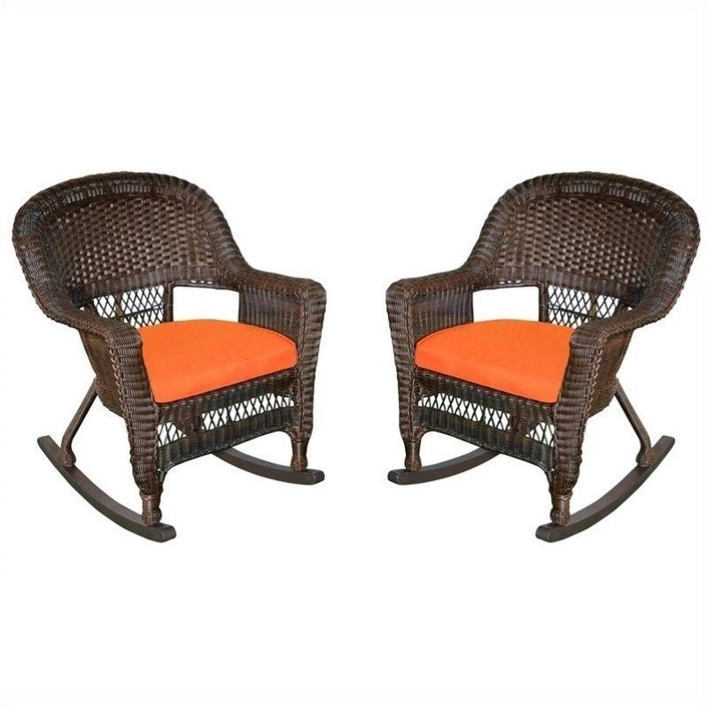 Set of 2 Jeco Wicker Rocker Chair with Orange Cushion White
