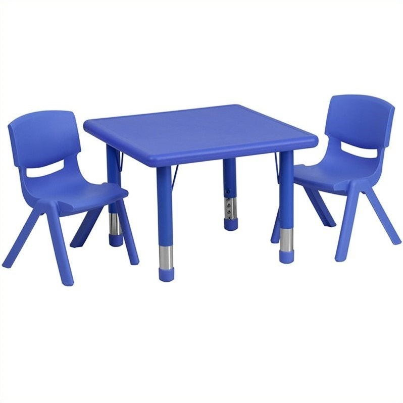 Flash Furniture 3 Piece Square Adjustable Activity Table Set in Blue