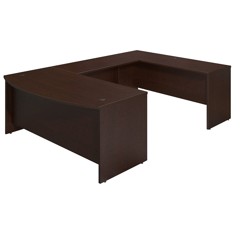 Bush Business Furniture Series C Elite 72W x 36D Bowfront U Station Desk Shell in Mocha Cherry