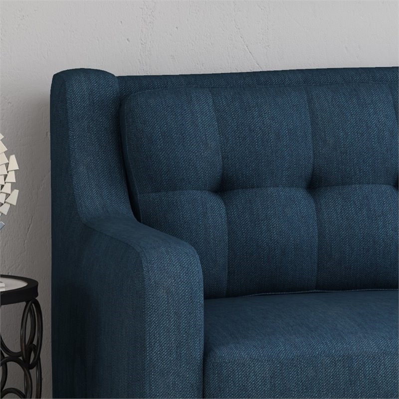 Noble House Reynard Tufted Fabric Sofa in Navy Blue and Espresso