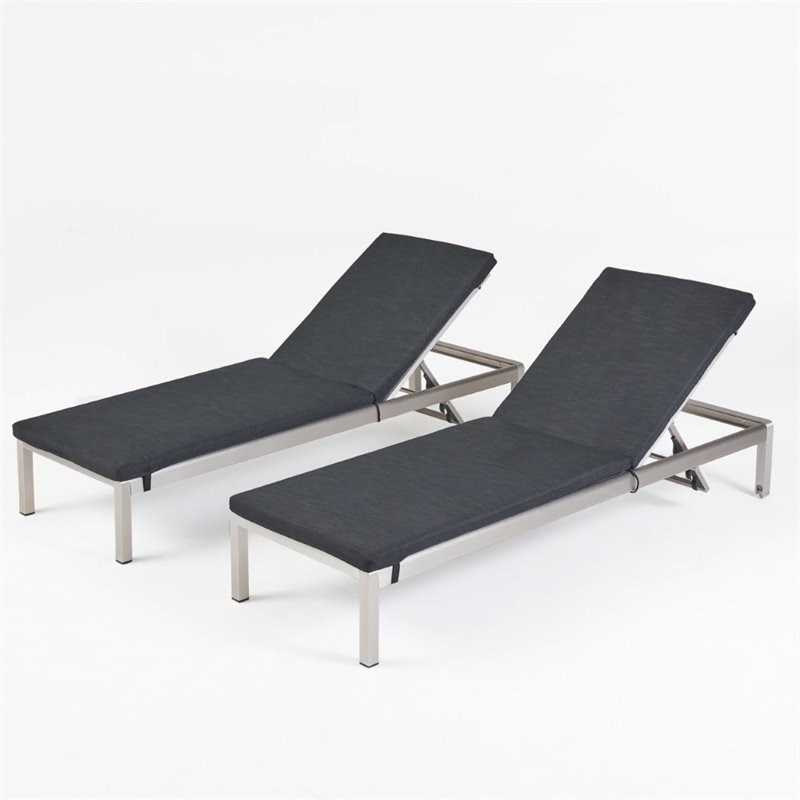 Noble House Cape Coral Outdoor Chaise Lounge in Silver (Set of 2)