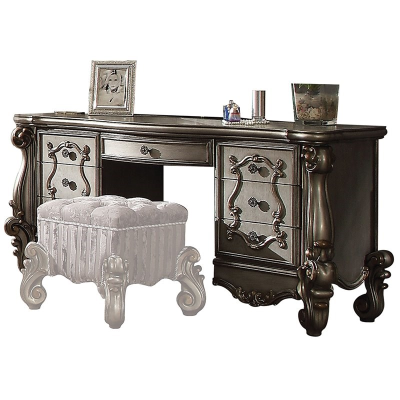 ACME Versailles Wood Bedroom Vanity Desk in Antique Platinum