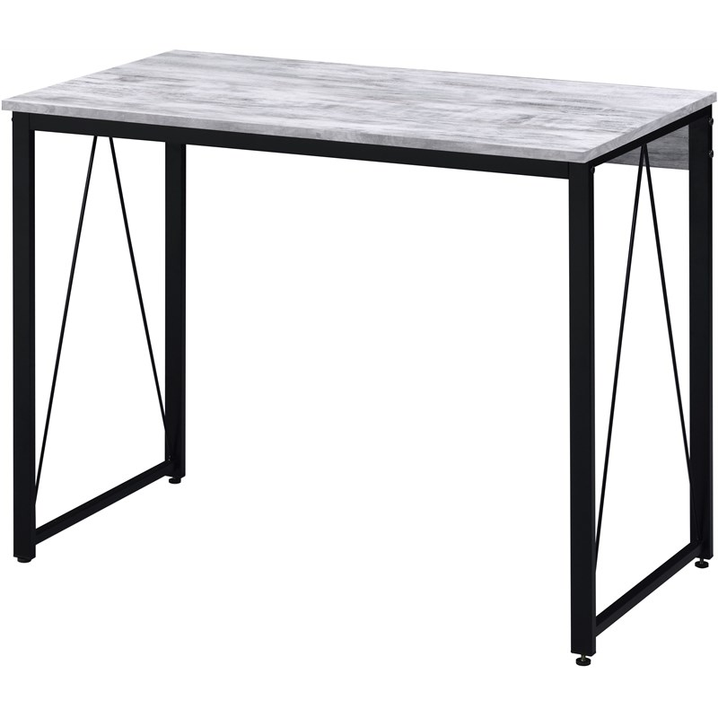 ACME Zaidin Writing Desk in Weathered White & Black Finish