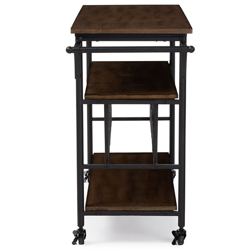 Baxton Studio Bradford Bar Cart in Antique Black and Brown