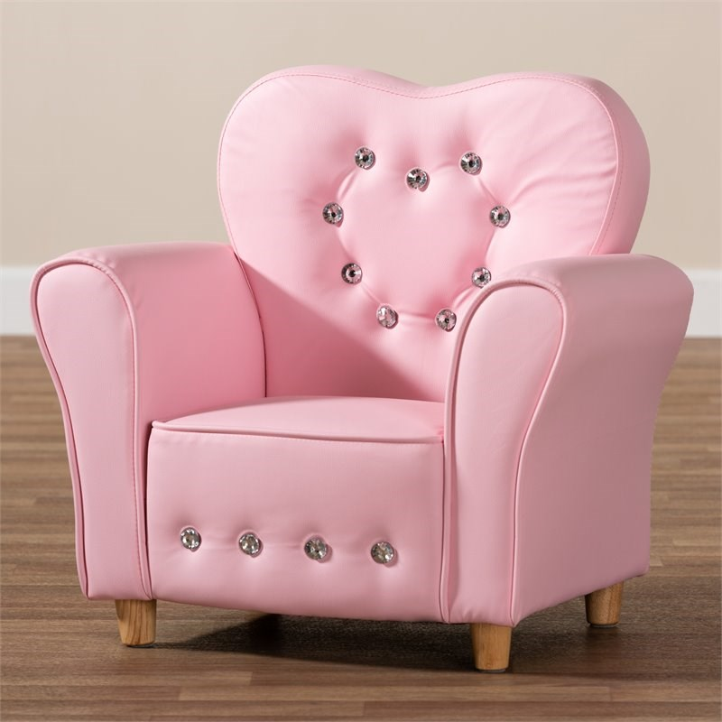 Baxton Studio Mabel Pink Faux Leather Kids Armchair