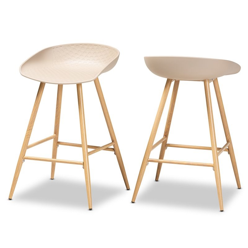 Set of 2 Baxton Studio Mairi Beige Plastic and Wood Counter Stools