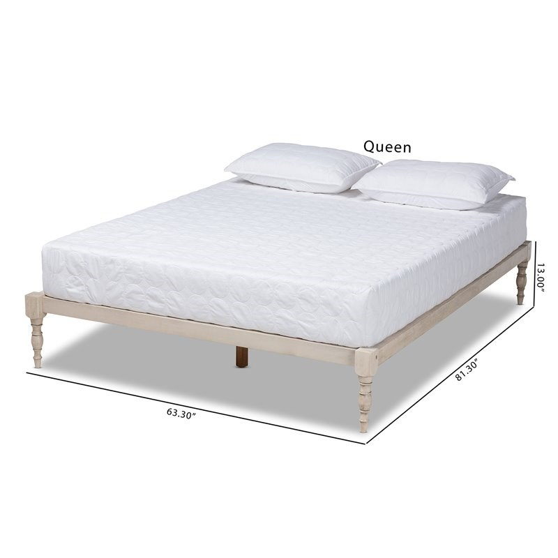 Baxton Studio Iseline King Size White Finished Wood Platform Bed Frame