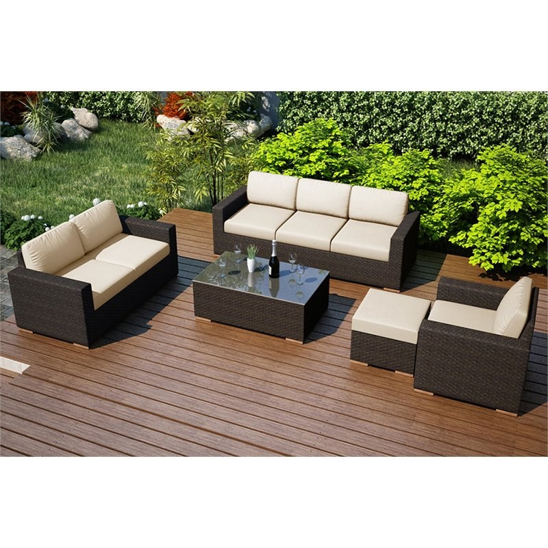 Harmonia Living Arden 5 Piece Patio Sofa Set in Canvas Flax