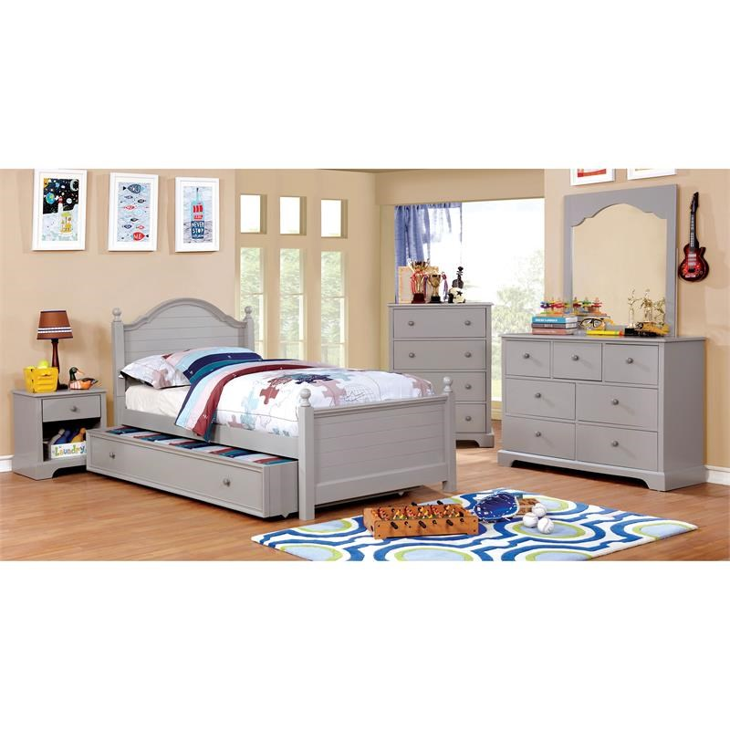 Furniture of America Belantra Wood 7-Drawer Kids Dresser and Mirror in Gray