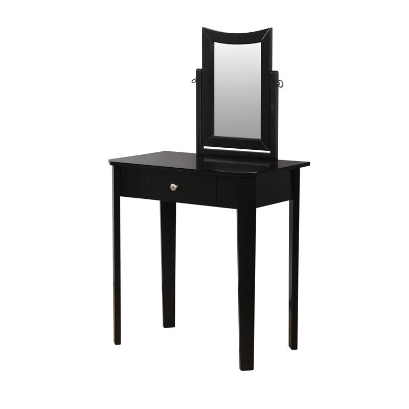 Furniture of America Adul Contemporary Wood Vanity Set in Black