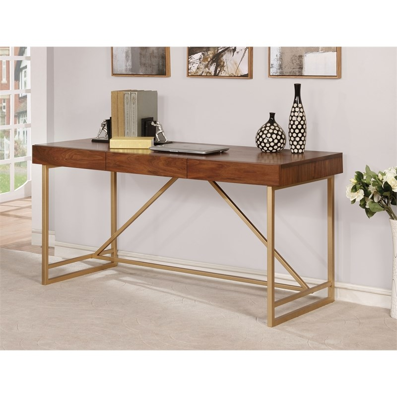 Furniture of America Teviot Contemporary Wood Writing Desk in Gold