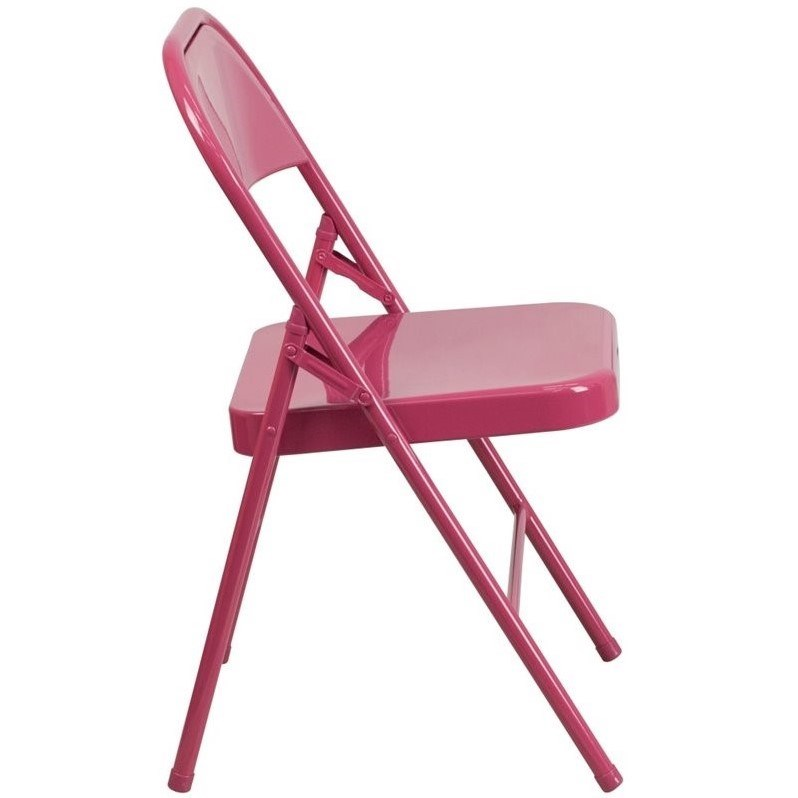 Bowery Hill Metal Folding Chair in Fuchsia