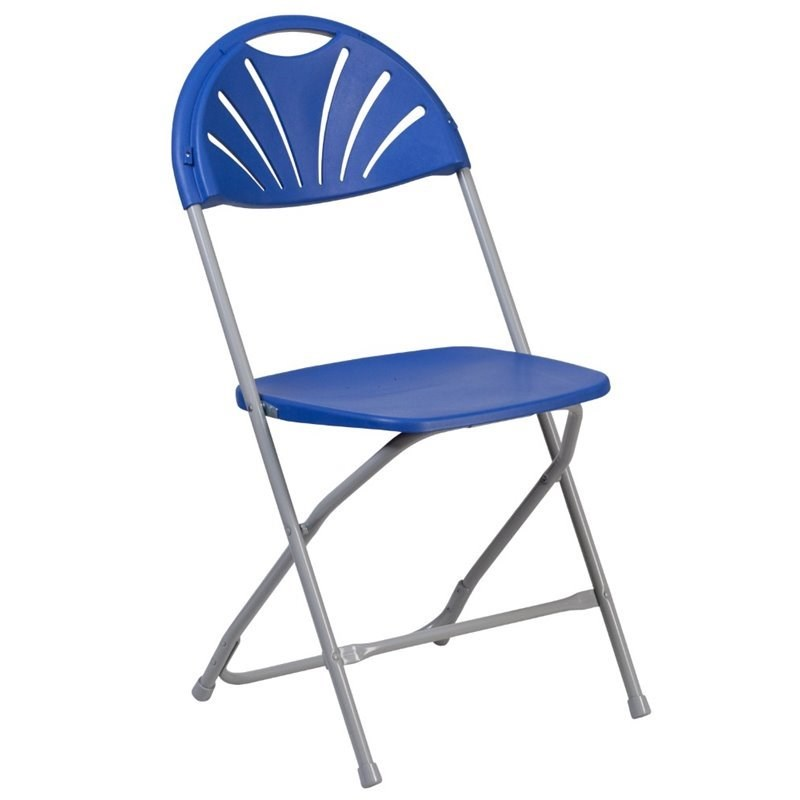 Bowery Hill Plastic Fan Back Folding Chair in Blue