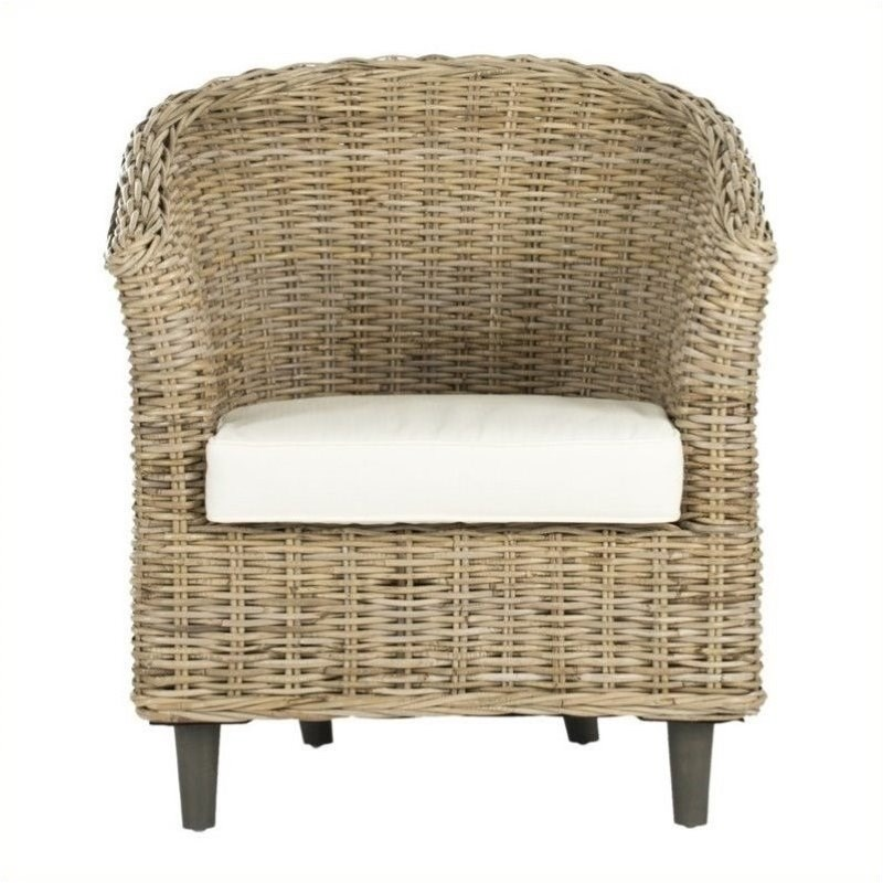 Hawthorne Collection Wicker Barrel Chair in Natural Unfinished