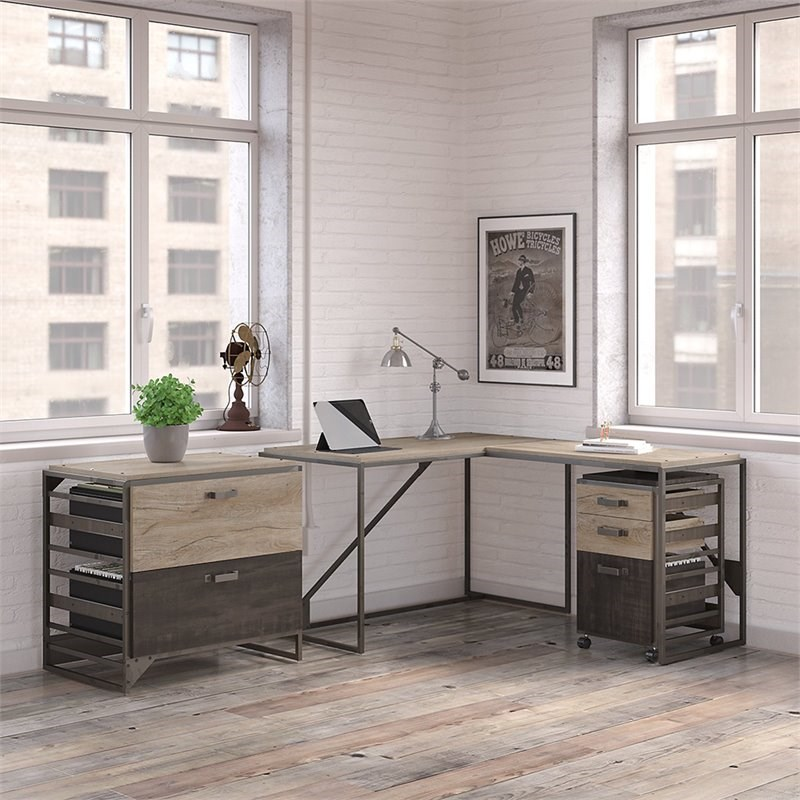 Bush Furniture Refinery 3 Piece Industrial Office Set in Rustic Gray