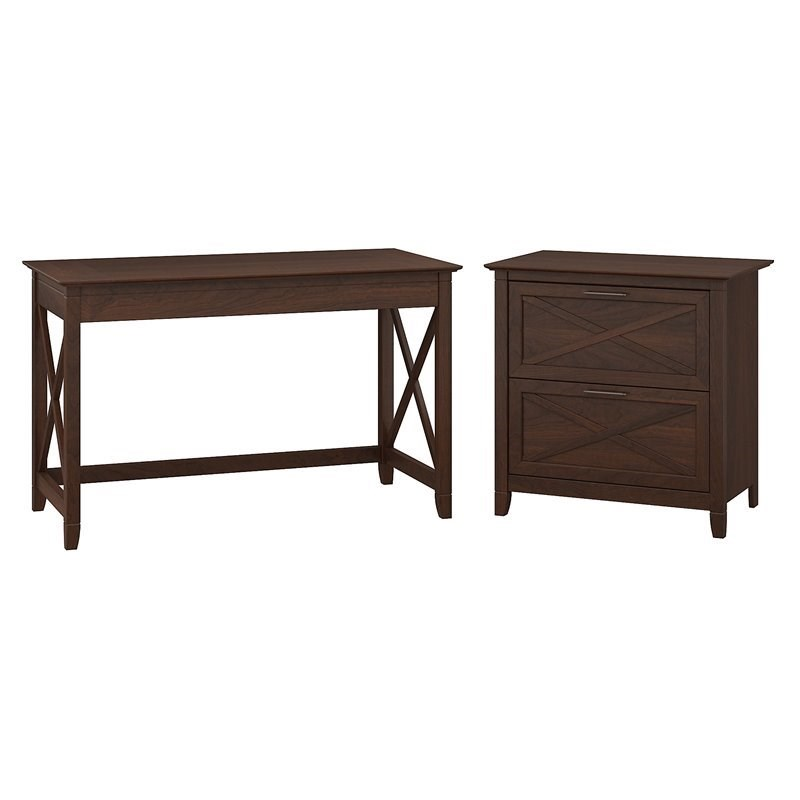 Bush Furniture Key West Writing Desk with 2 Drawer Lateral File Cabinet in Cherry
