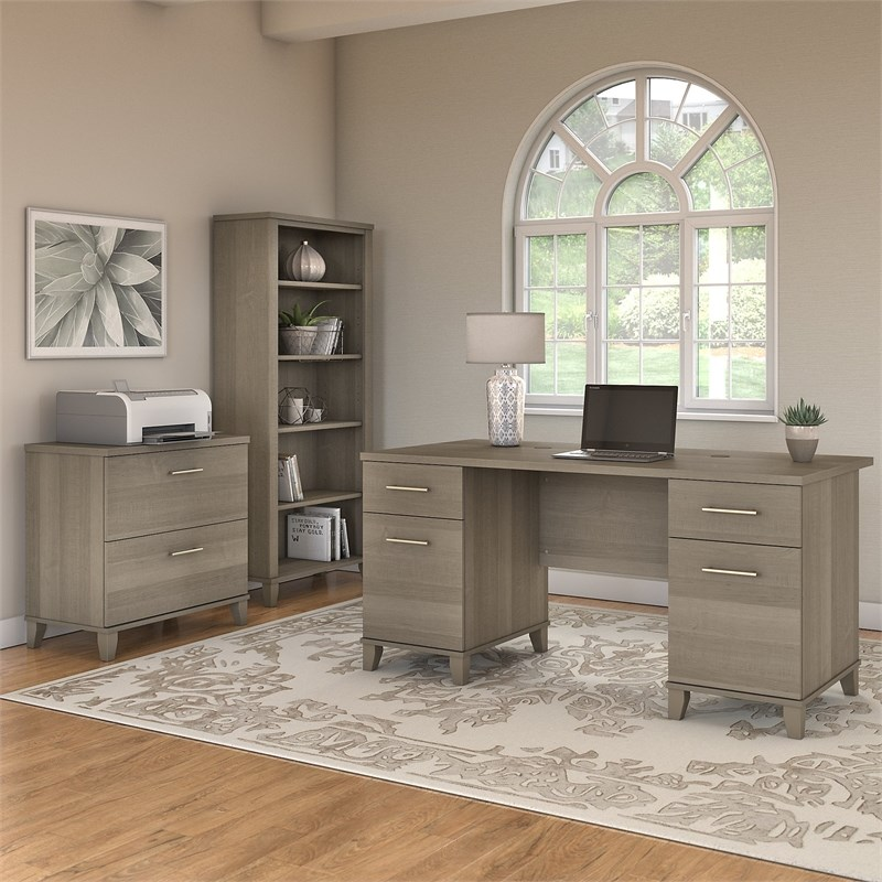 Bush Furniture Somerset 60W Desk with File Cabinet and Bookcase in Ash Gray