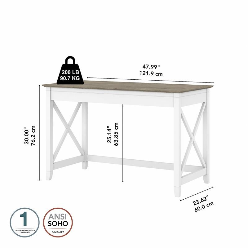 Key West 48W Writing Desk in Pure White and Shiplap Gray - Engineered Wood
