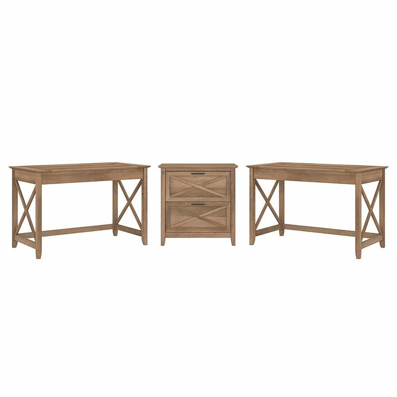Key West 2 Person Desk Set with File Cabinet in Reclaimed Pine - Engineered Wood