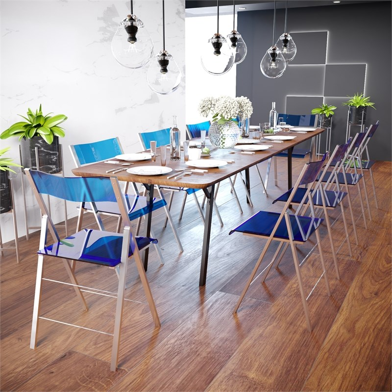 LeisureMod Modern Menno Acrylic Chrome Dining Folding Chair in Blue Set of 4