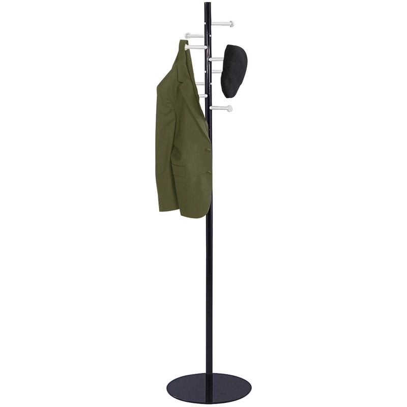 Safco's Steel Spiral Nail Head Standing Coat Rack in Black - 15