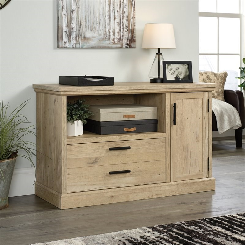Sauder Aspen Post Engineered Wood Filing Cabinet with Storage in Prime Oak