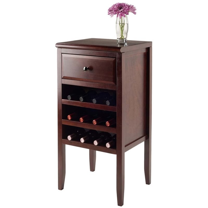 Winsome Orleans Modular Wine Rack Buffet Cabinet in Cappuccino