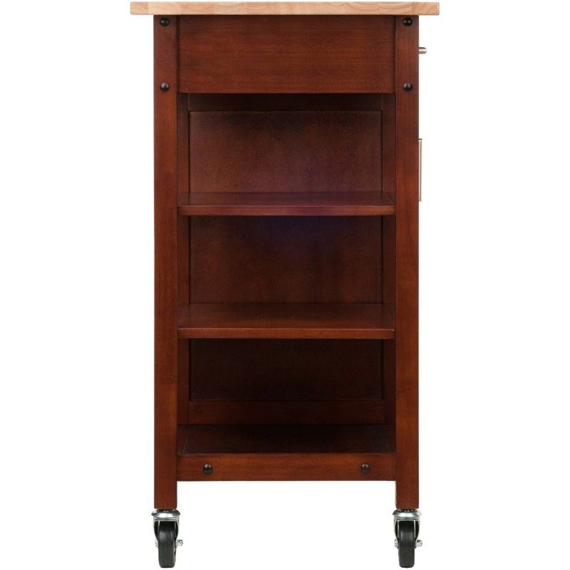 Winsome Marissa Transitional Solid Wood Kitchen Cart in Walnut and Natural