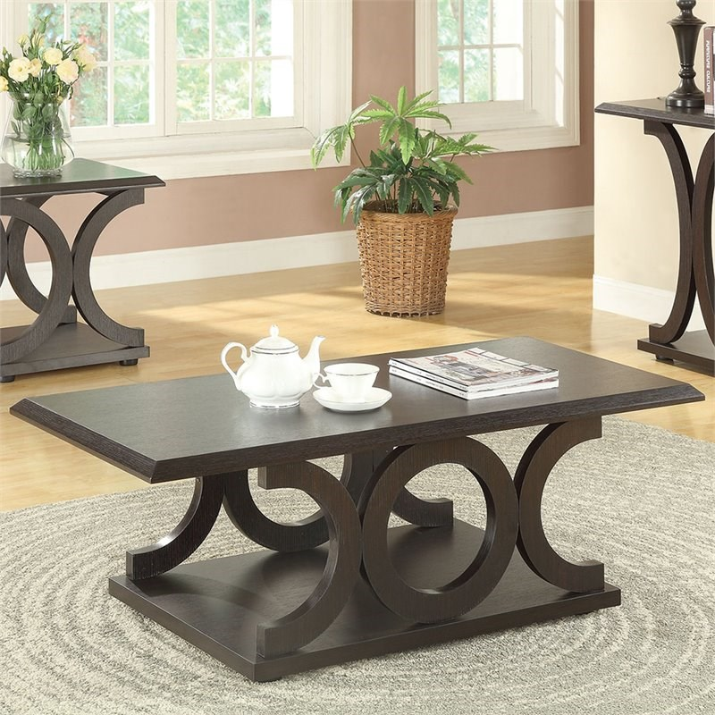 Coaster Casual Coffee Table in Cappuccino