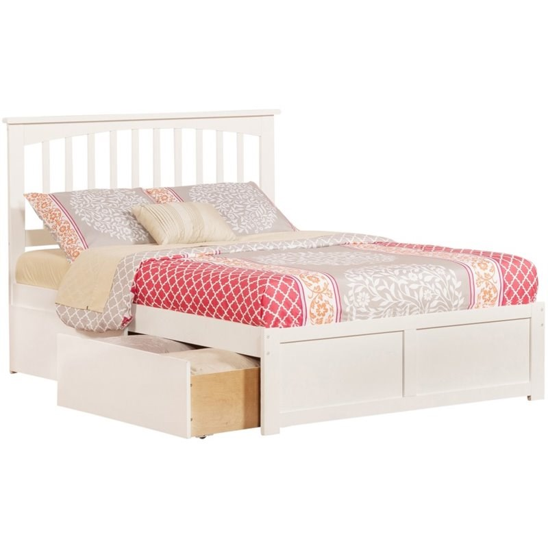 Atlantic Furniture Mission 2 Piece Full Storage Spingle Bedroom Set in White