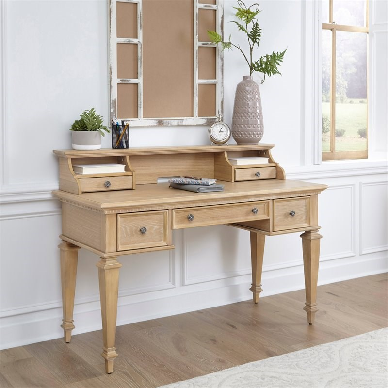 Manor House Brown Wood Desk with Hutch